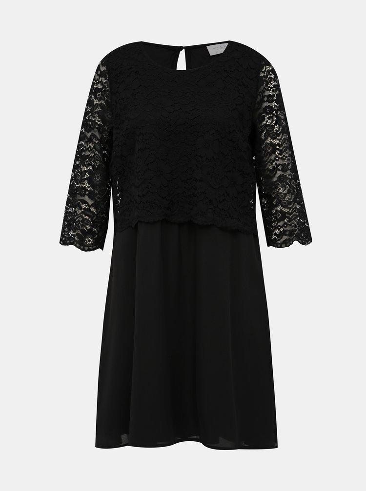 Čierne šaty s krajkou VILA Lovia