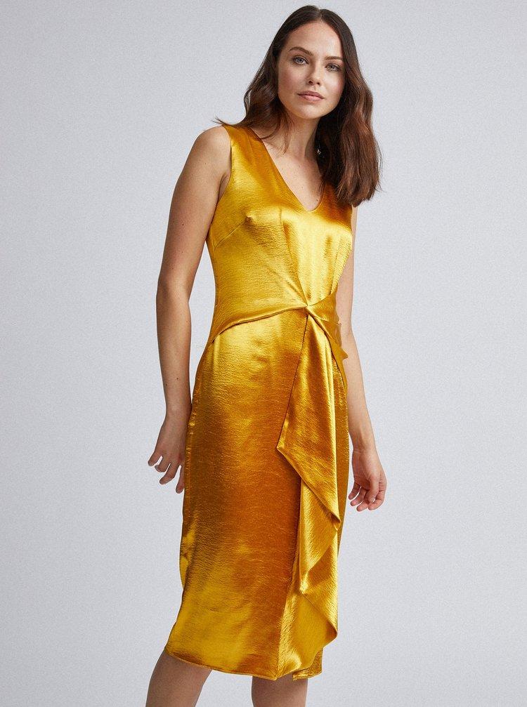 Saténové pouzdrové šaty ve zlaté barvě Dorothy Perkins