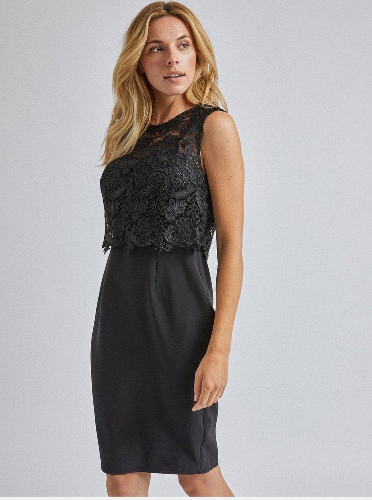 Černé pouzdrové krajkové šaty Dorothy Perkins