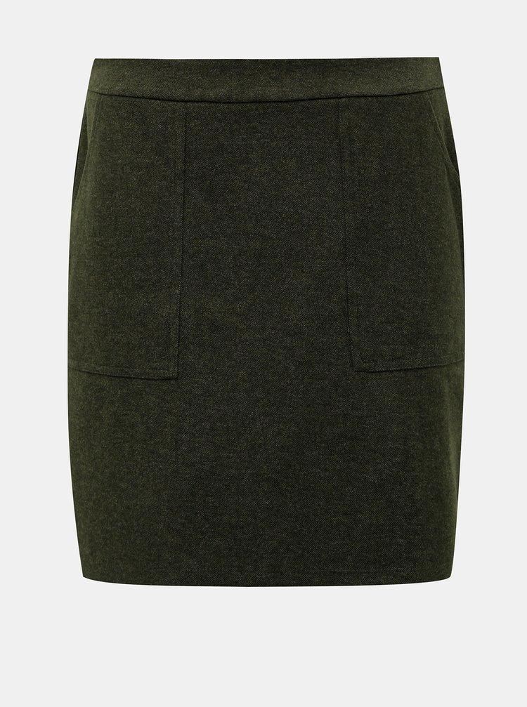 Tmavozelená sukňa s vreckami VERO MODA Felicity