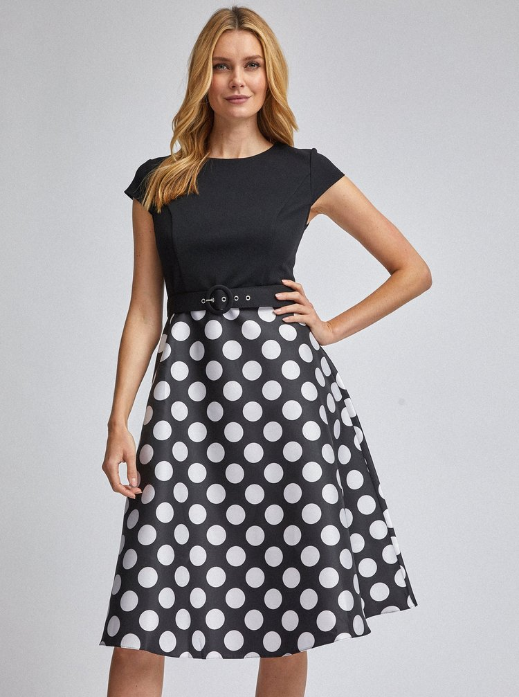Čierne bodkované šaty Dorothy Perkins