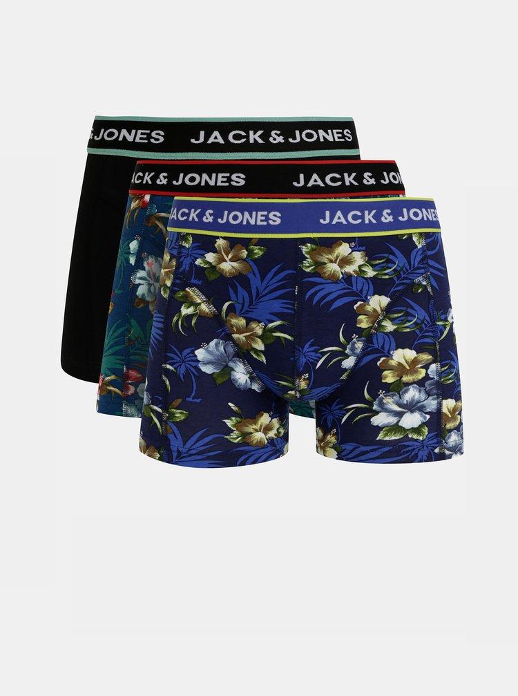 Sada tří boxerek v modré a černé barvě Jack & Jones Flower