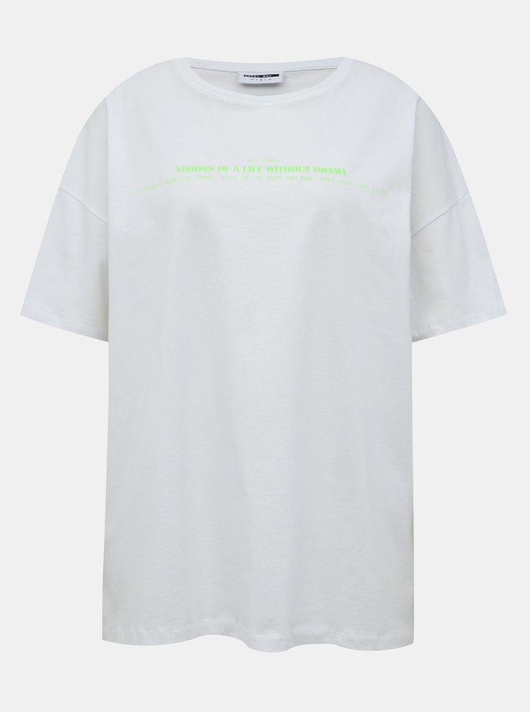 Biele oversize tričko s potlačou Noisy May Ida