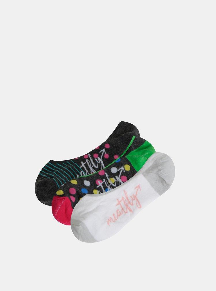 Sada tří párů dámských nízkých vzorovaných ponožek v bílé a šedé barvě Meatfly