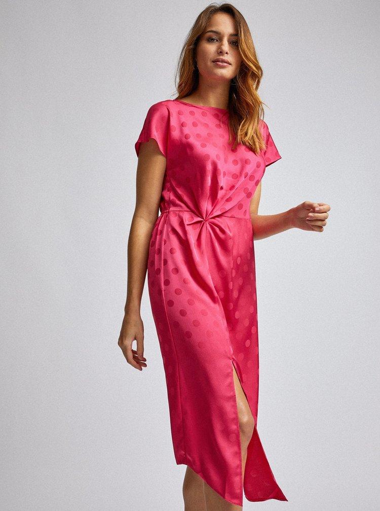Tmavě růžové puntíkované midi šaty Dorothy Perkins