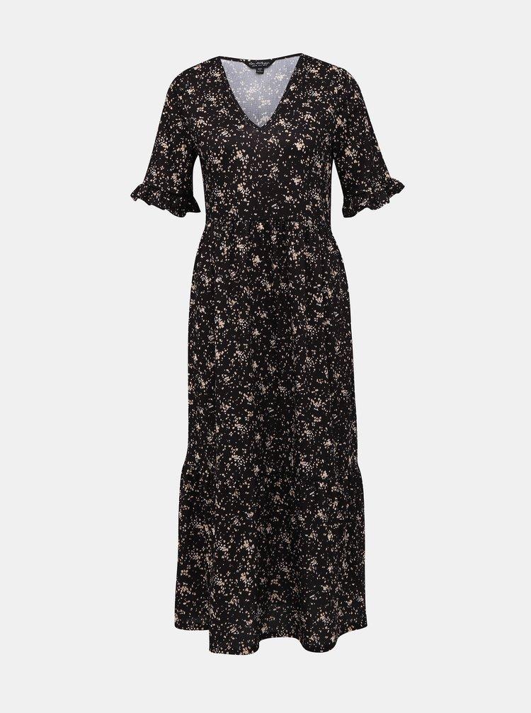 Černé vzorované maxi šaty Miss Selfridge