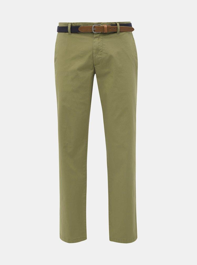 Khaki slim fit chino kalhoty Selected Homme Yard