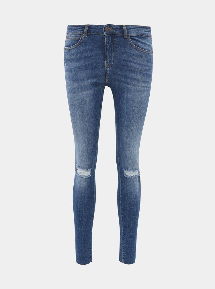 Modré zkrácené skinny fit džíny Noisy May Lucy