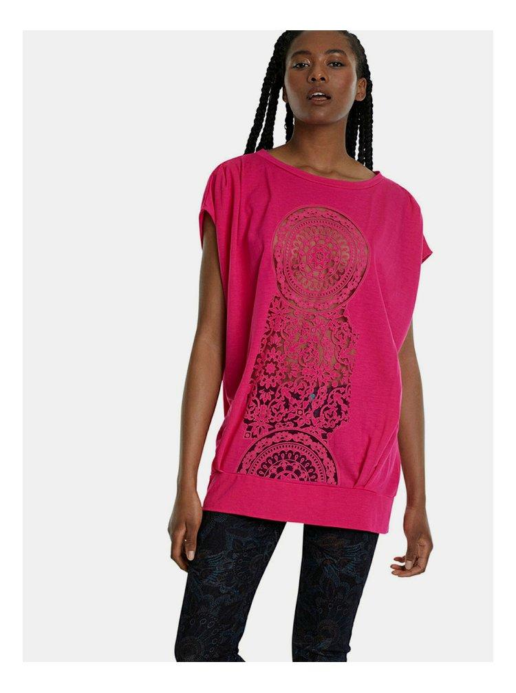 Růžové vzorované tričko Desigual Sola