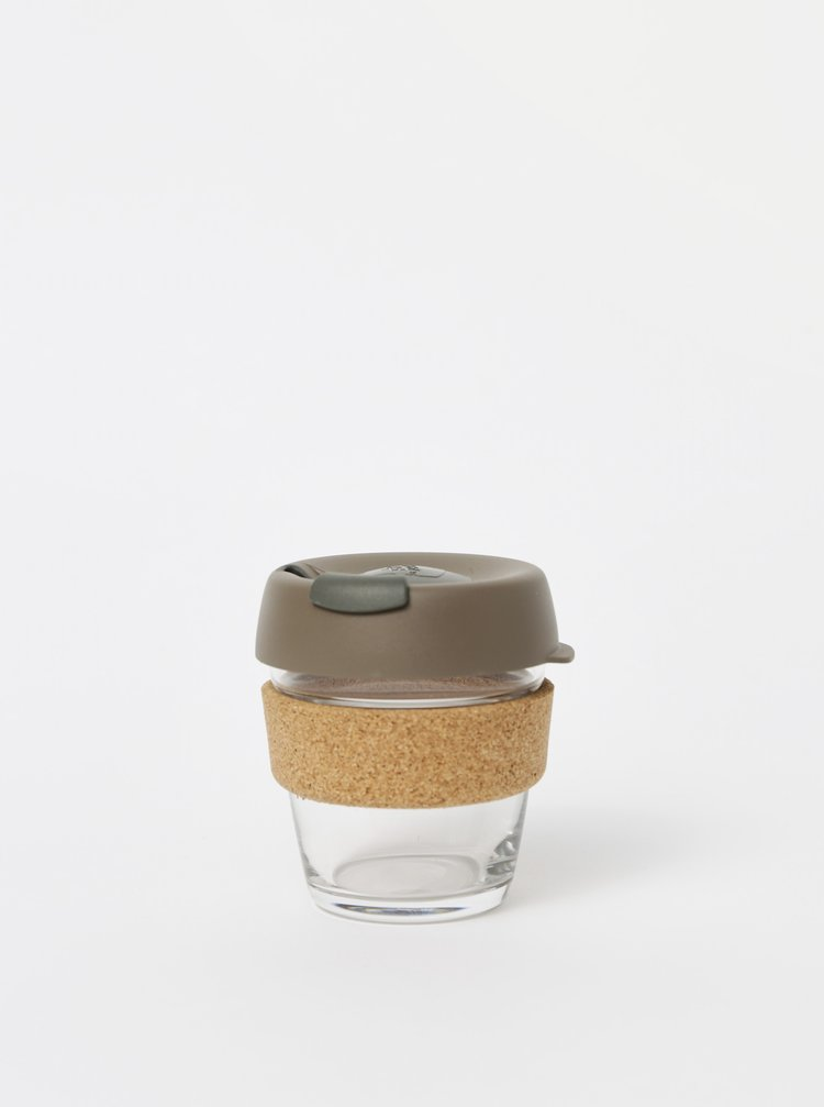 Hnedý sklenený cestovný hrnček KeepCup Brew Cork small 177 ml