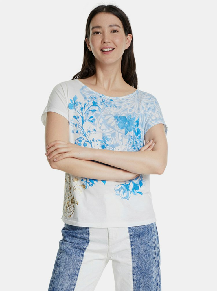 Modro-bílé vzorované tričko Desigual