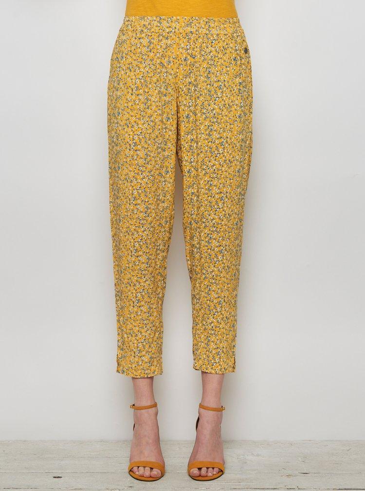 Žlté kvetované skrátené nohavice Tranquillo