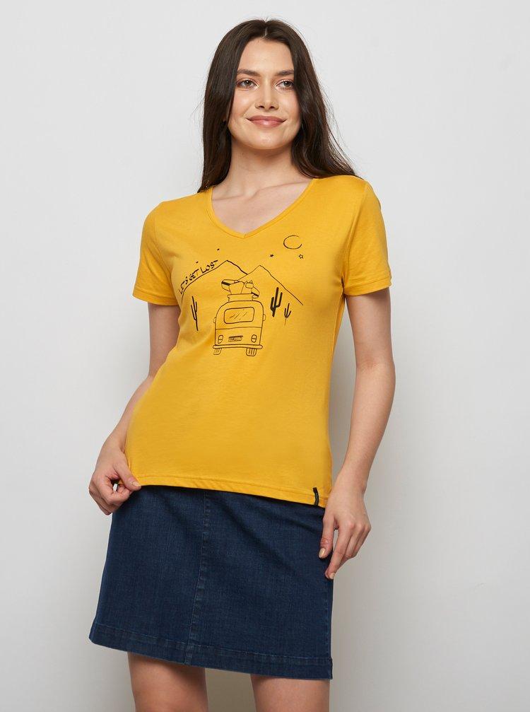 Horčicové tričko s potlačou Tranquillo Fajola