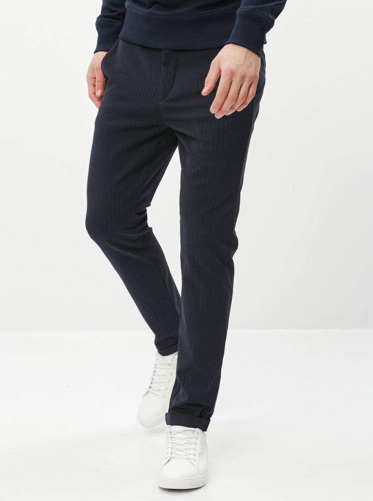 Tmavě modré pruhované slim fit kalhoty Jack & Jones Marco