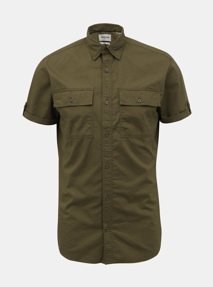Kaki slim fit košeľa Jack & Jones Marc