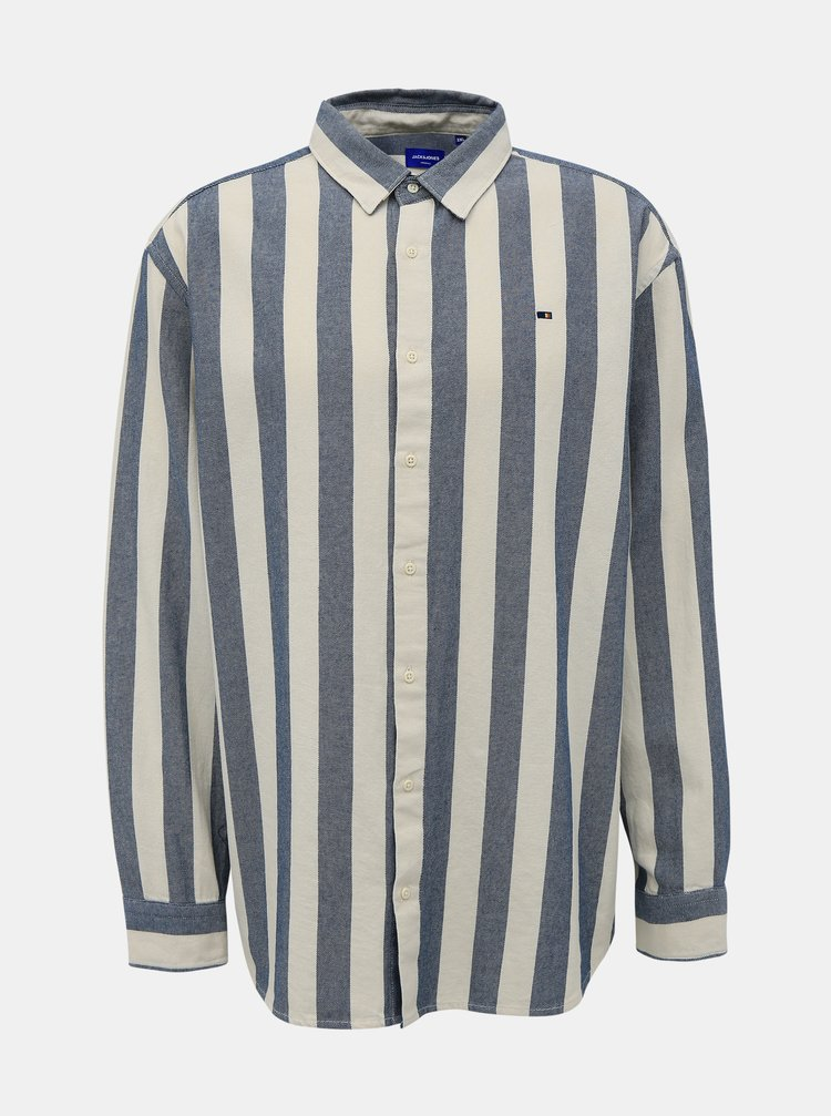Šedo-biela pruhovaná košeľa Jack & Jones Break