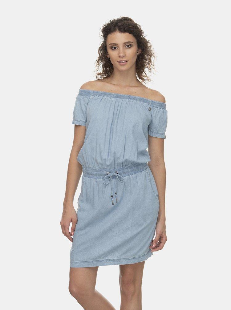 Svetlomodré šaty s odhalenými ramenami Ragwear Everly Denim