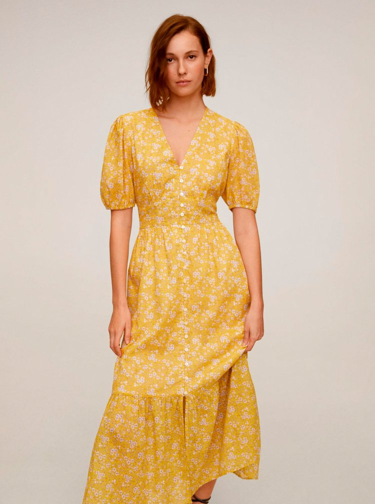 Žlté kvetované maxišaty Mango Jungle