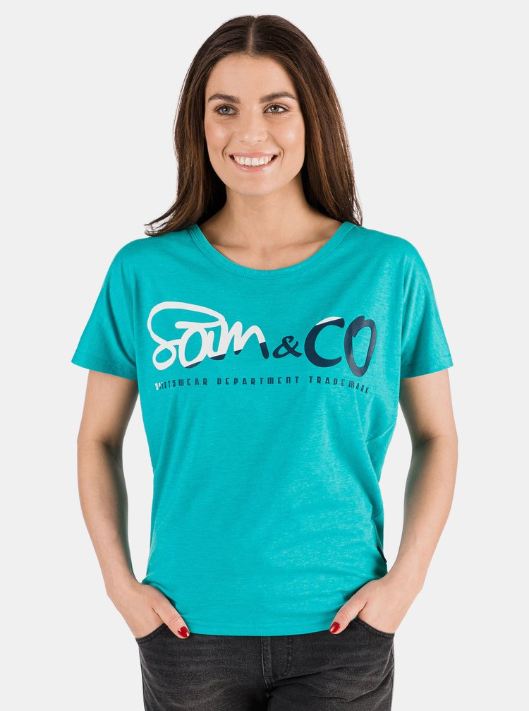 Tyrkysové dámske tričko s potlačou SAM 73