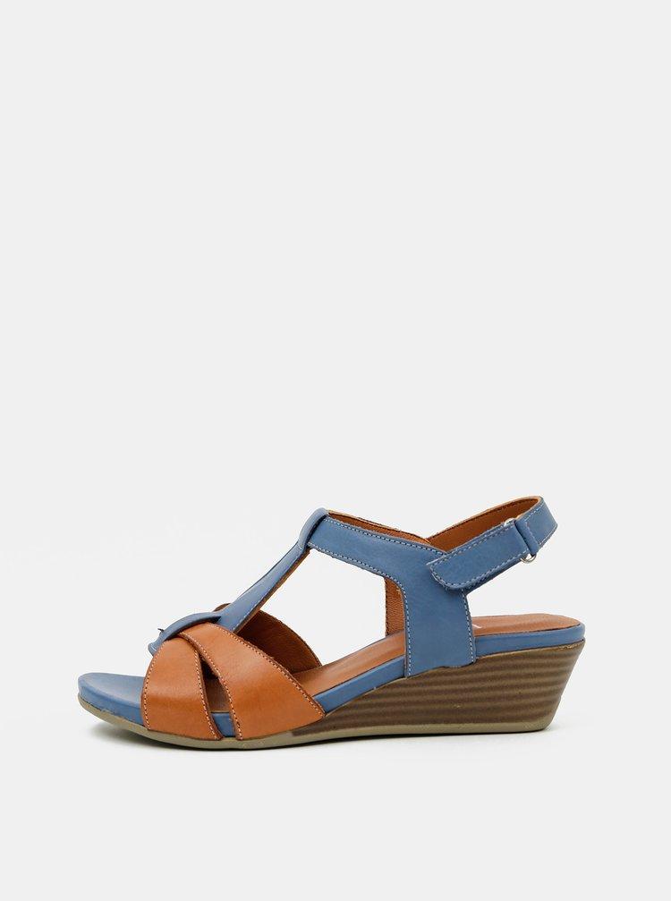 Hnědo-modré kožené sandálky na klínku WILD
