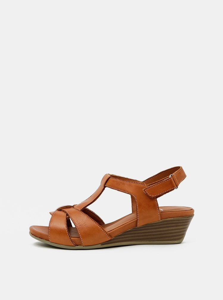Hnedé kožené sandálky na plnom podpätku WILD