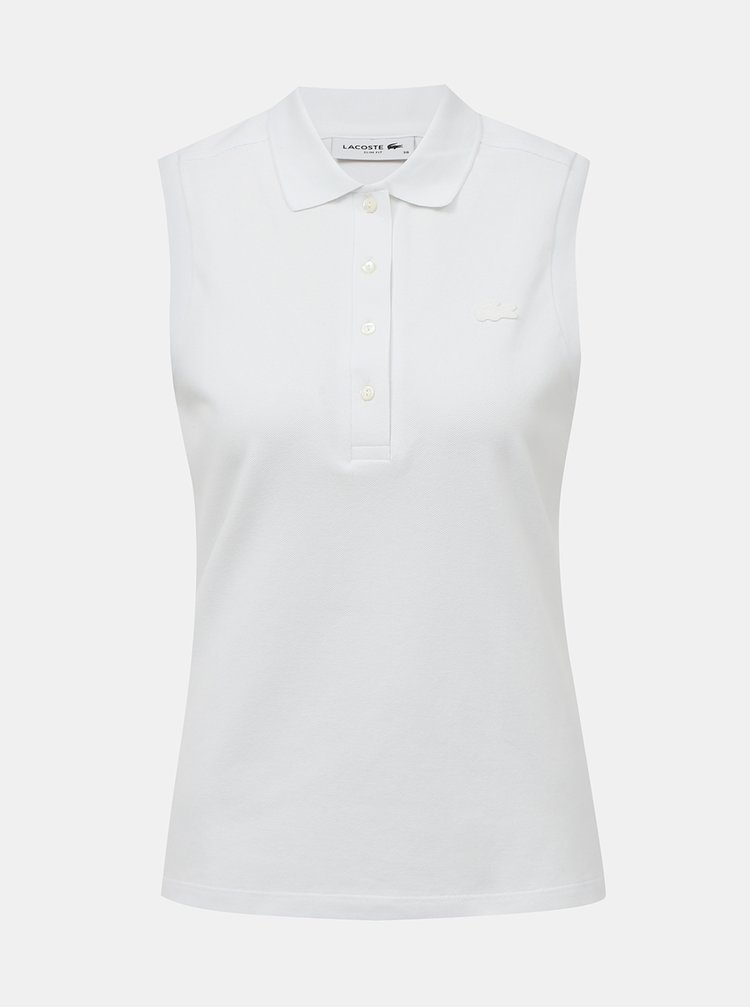 Bílé dámské polo tričko bez rukávů Lacoste