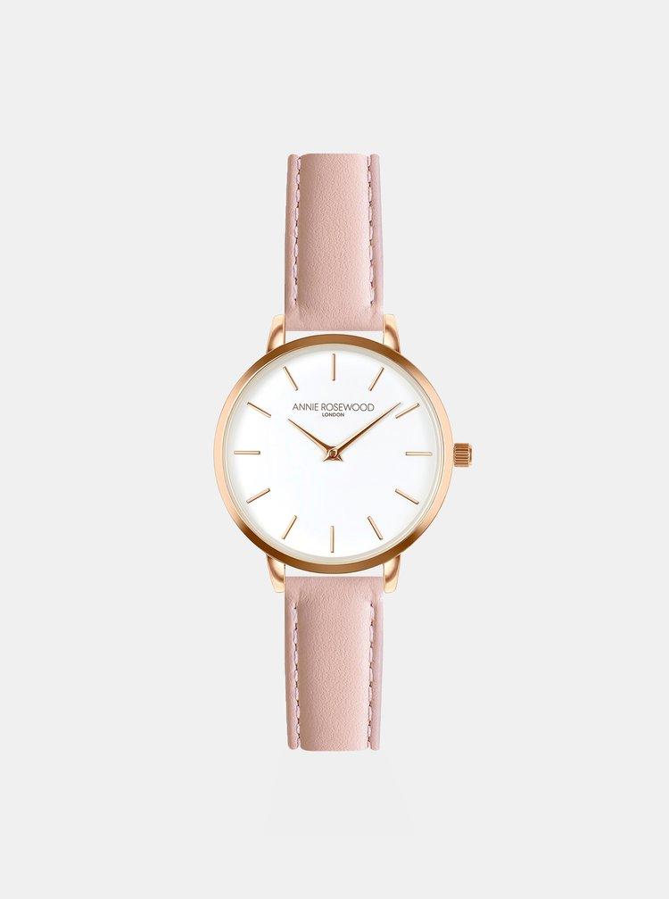 Dámské hodinky s růžovým koženým páskem Annie Rosewood