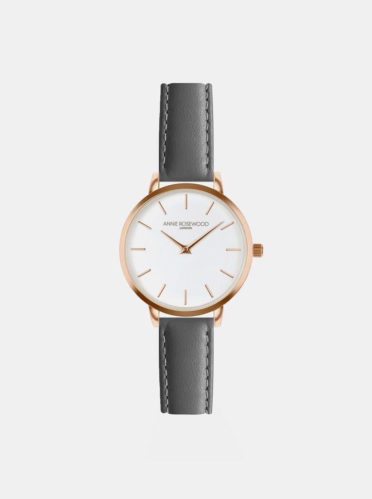 Dámské hodinky s šedým koženým páskem Annie Rosewood
