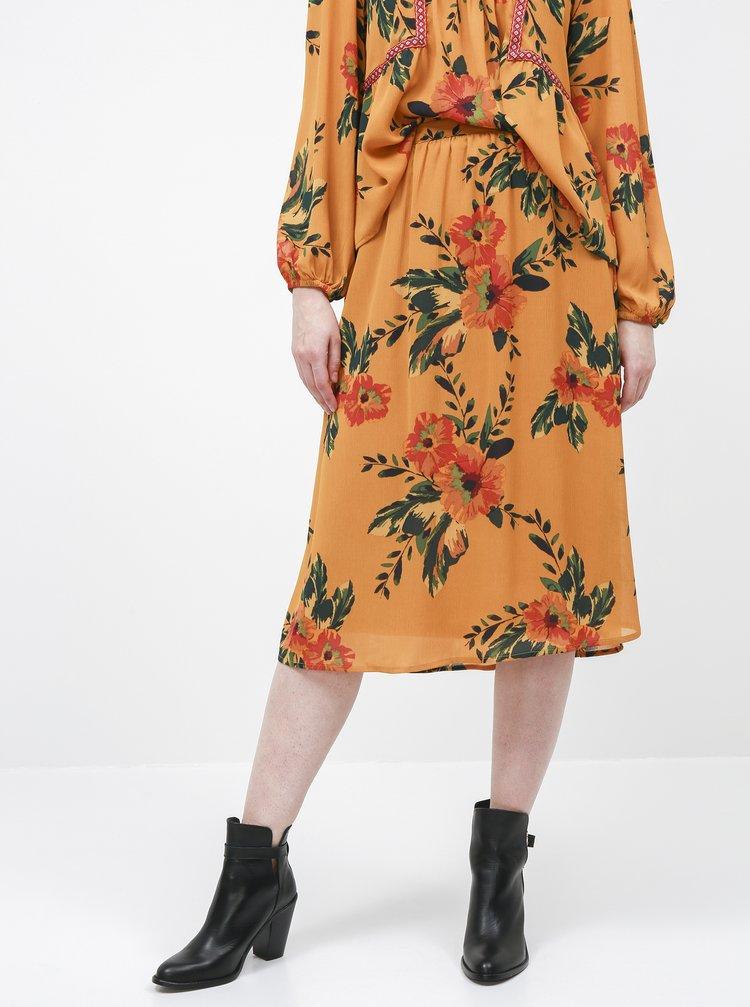 Žltá kvetovaná midi sukňa Jacqueline de Yong Solis
