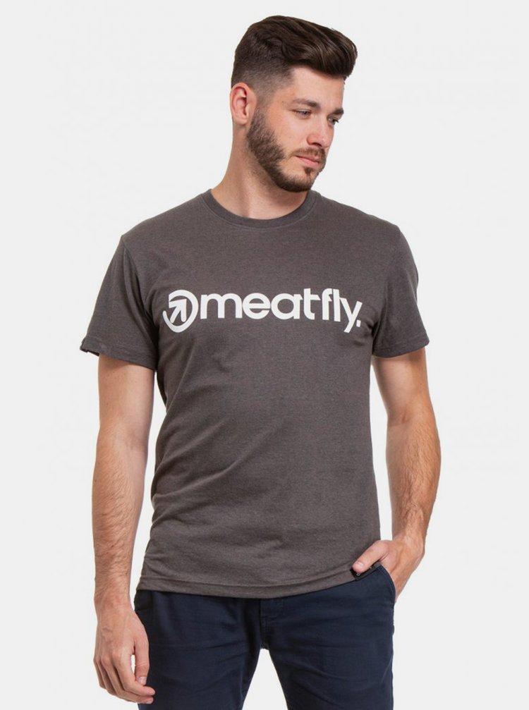Tmavě šedé pánské tričko s potiskem Meatfly Logo