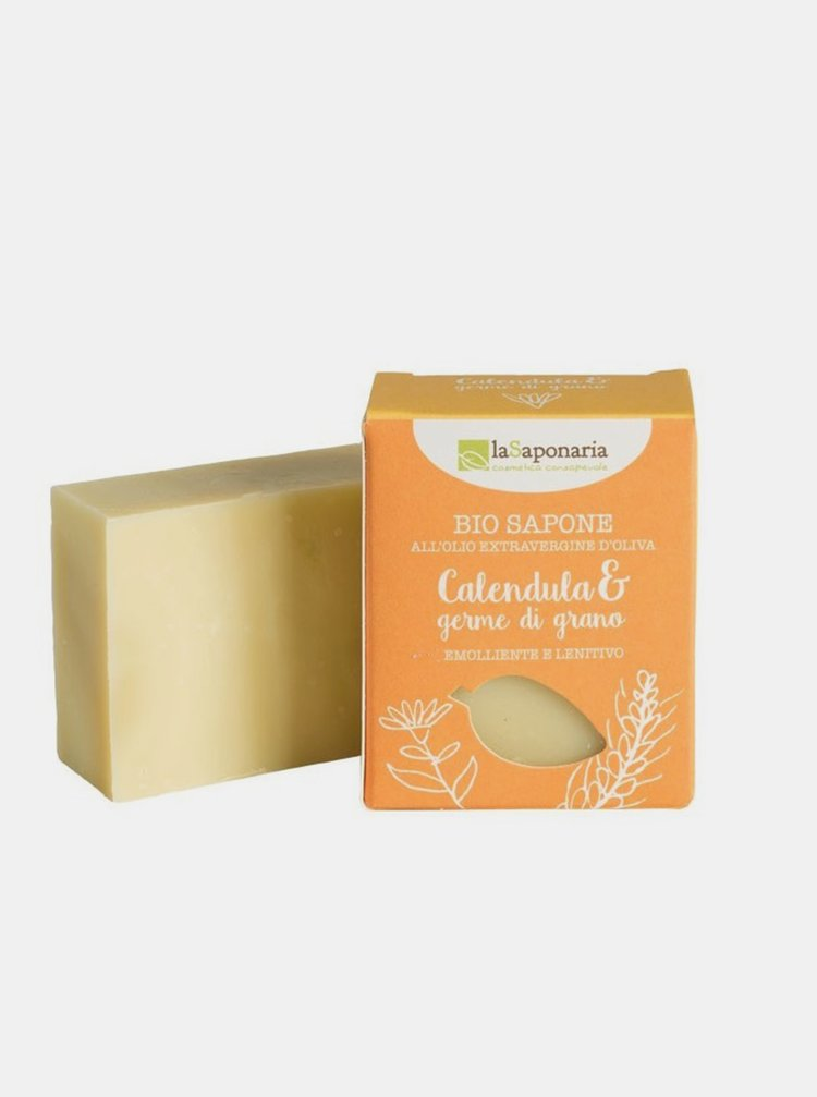 Tuhé olivové mýdlo BIO - Měsíček a pšeničné klíčky 100 g laSaponaria