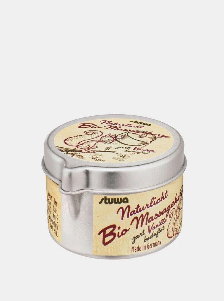 Masážní svíčka v plechové dóze s nálevkou BIO - přírodní vanilka 50 ml Stuwa