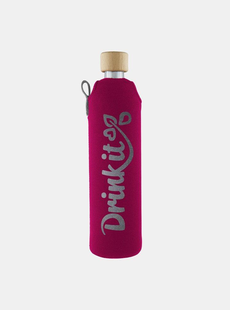 Sklenená fľaša v neoprénovom obale Drinkit Pinky 500 ml