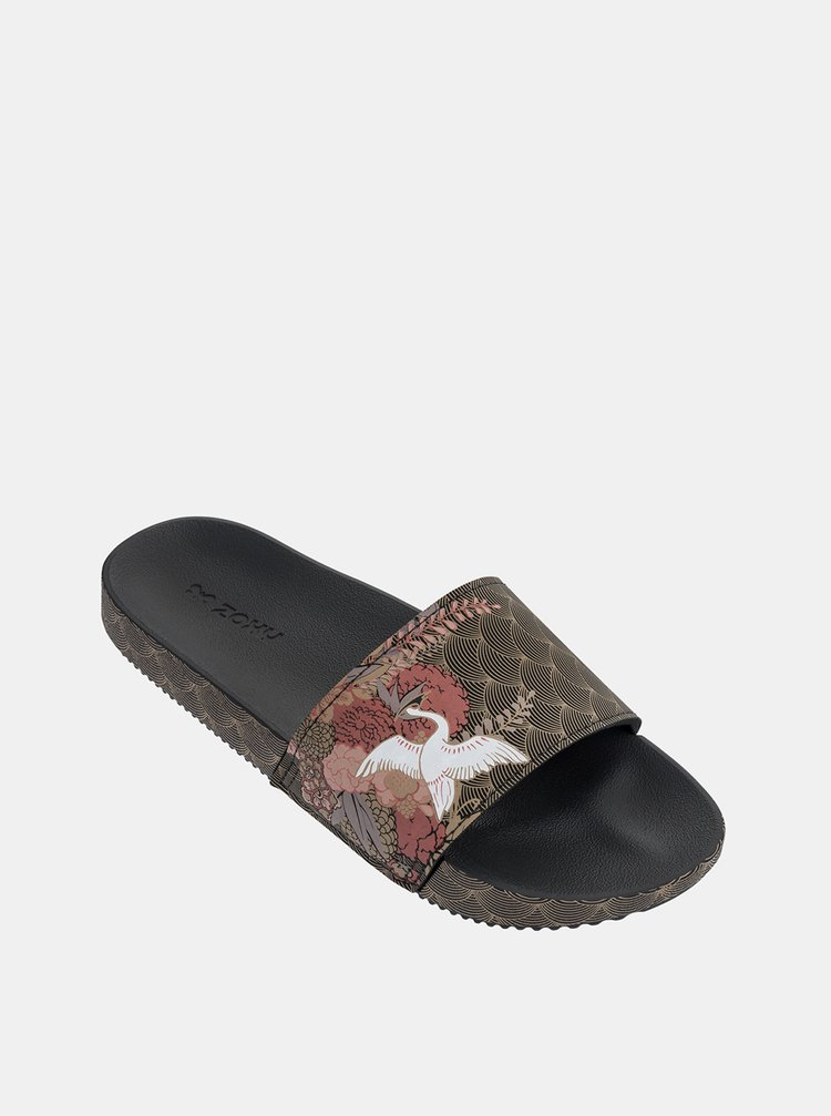Hnědé dámské vzorované pantofle Zaxy