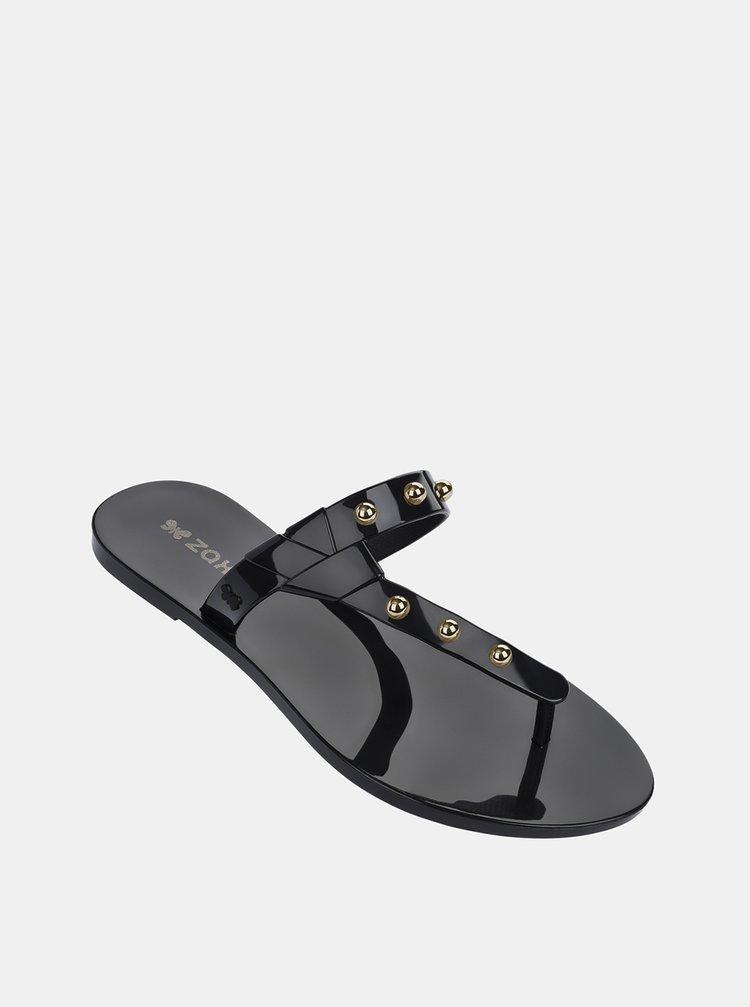 Černé lesklé žabky s detaily ve zlaté barvě Zaxy Spike