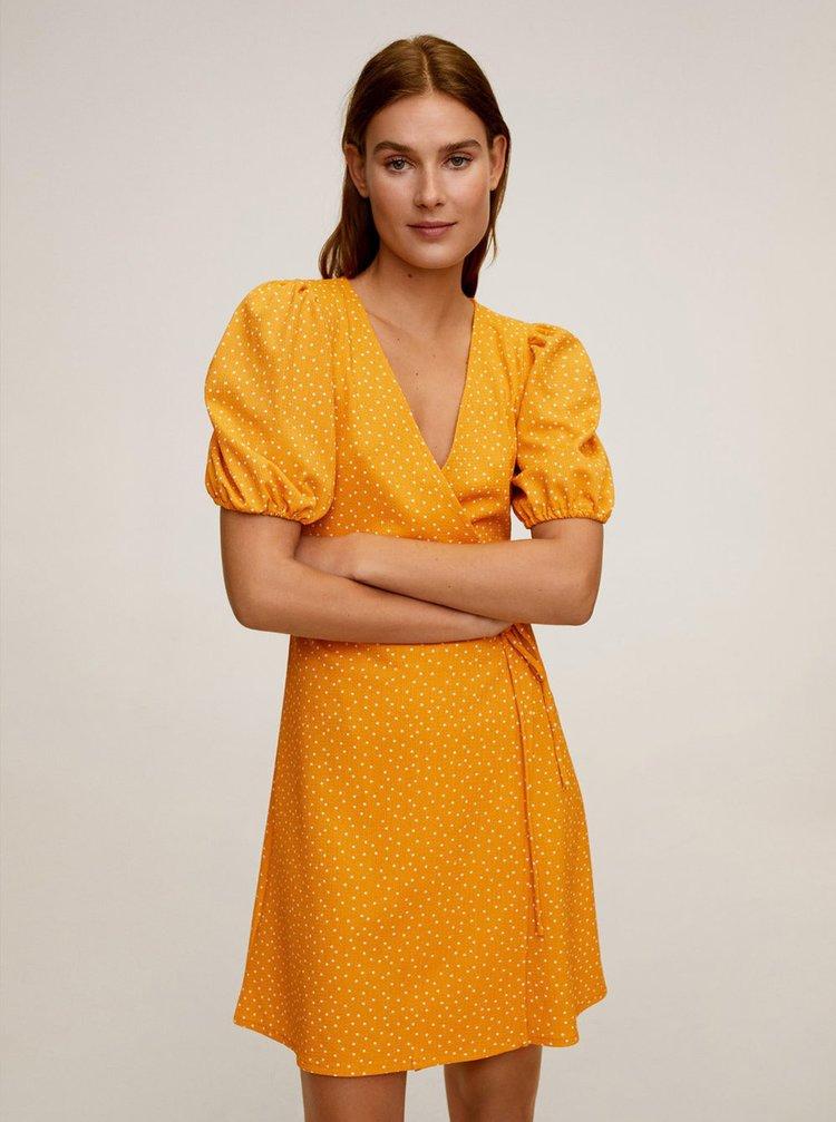 Žluté puntíkované zavinovací šaty Mango Yute