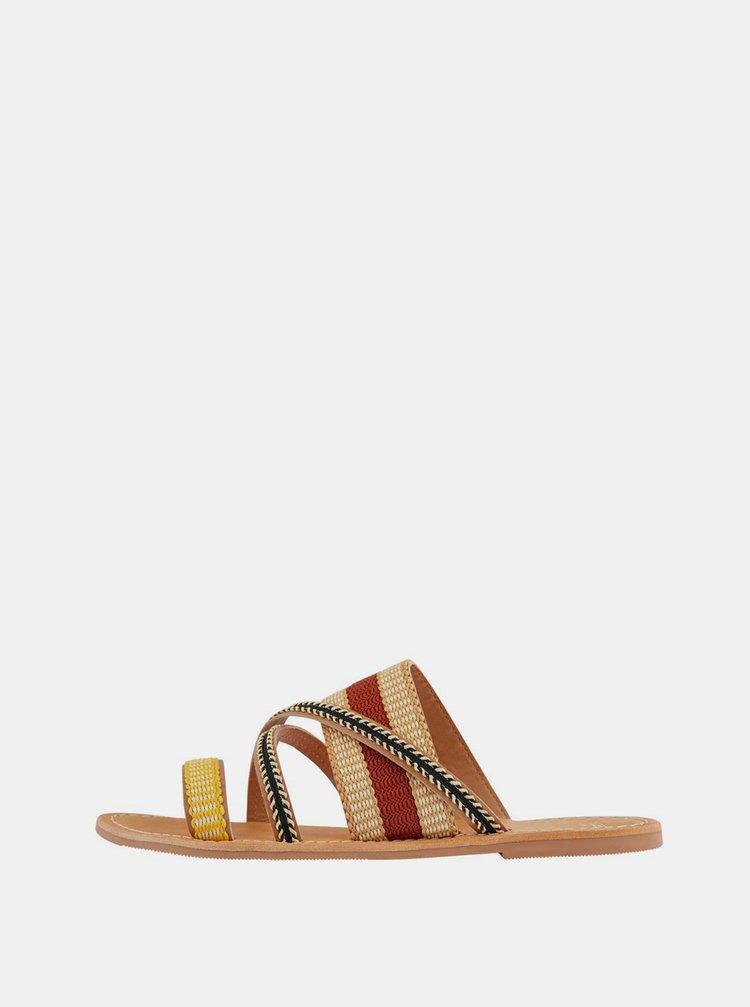 Béžové kožené pantofle Pieces Annilu