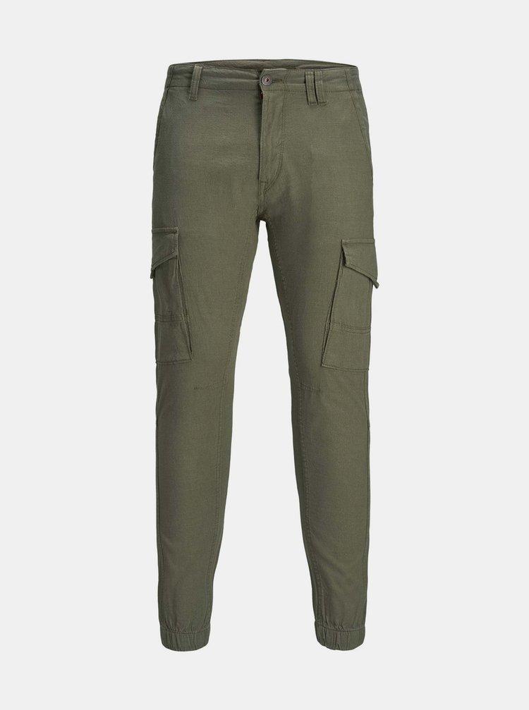 Tmavě zelené kalhoty s příměsí lnu Jack & Jones Paul
