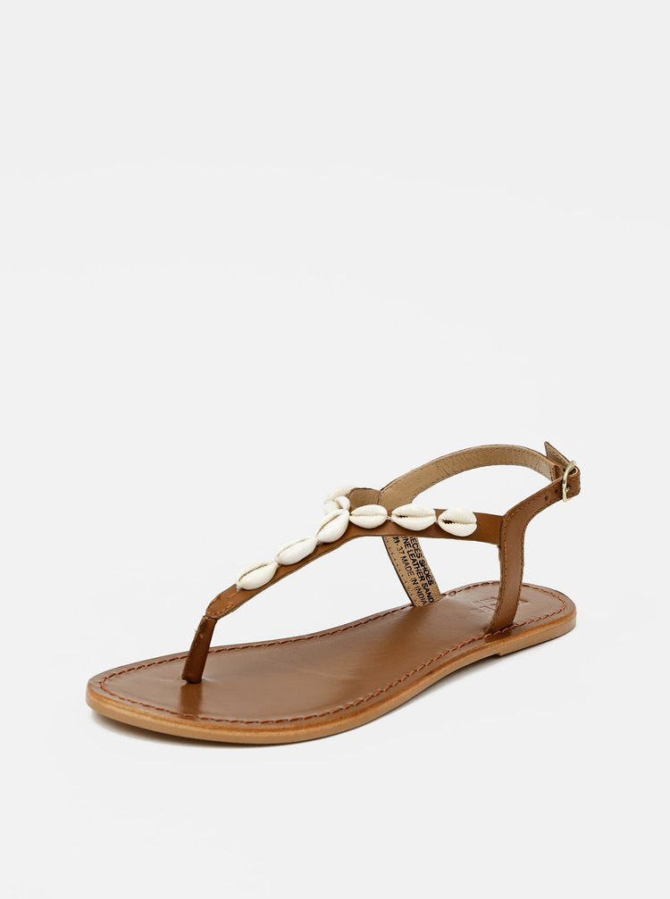 Hnědé kožené sandály Pieces Aggies