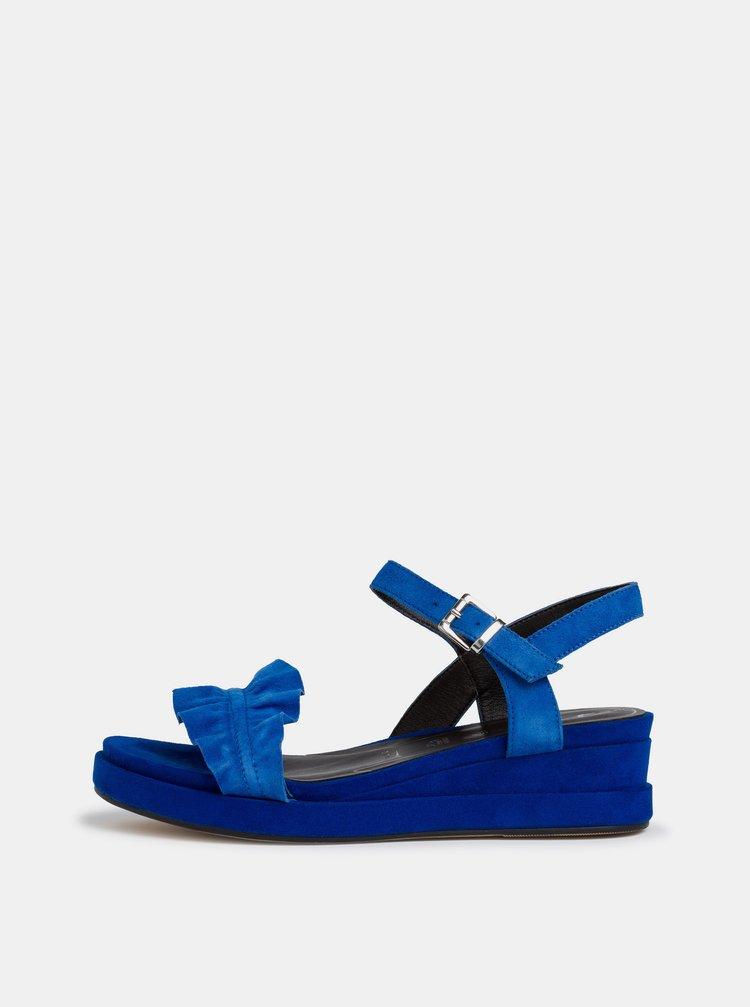 Modré semišové sandálky na platformě Tamaris