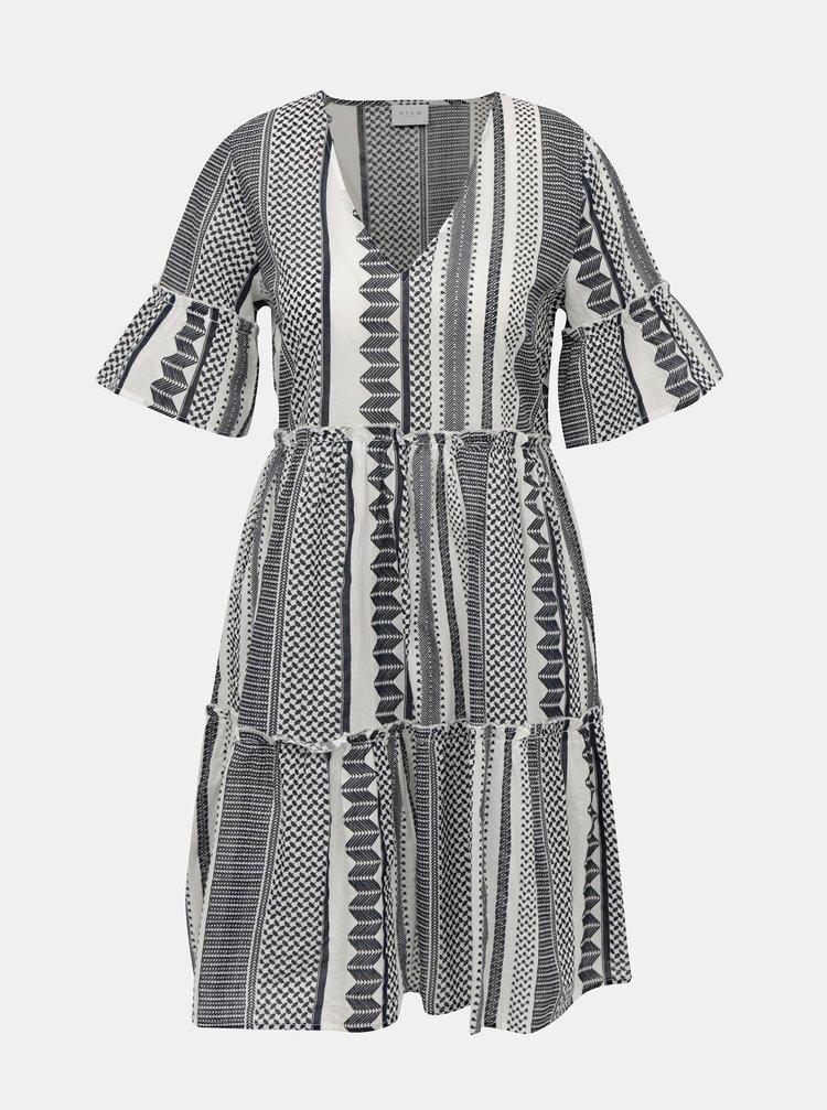 Šedé vzorované voľné šaty VILA Hanna