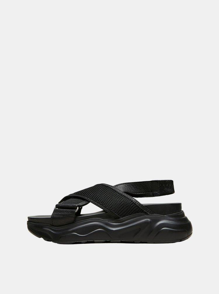 Černé kožené sandály Selected Femme Follie