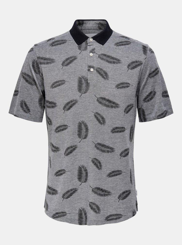 Šedé vzorované polo tričko ONLY & SONS