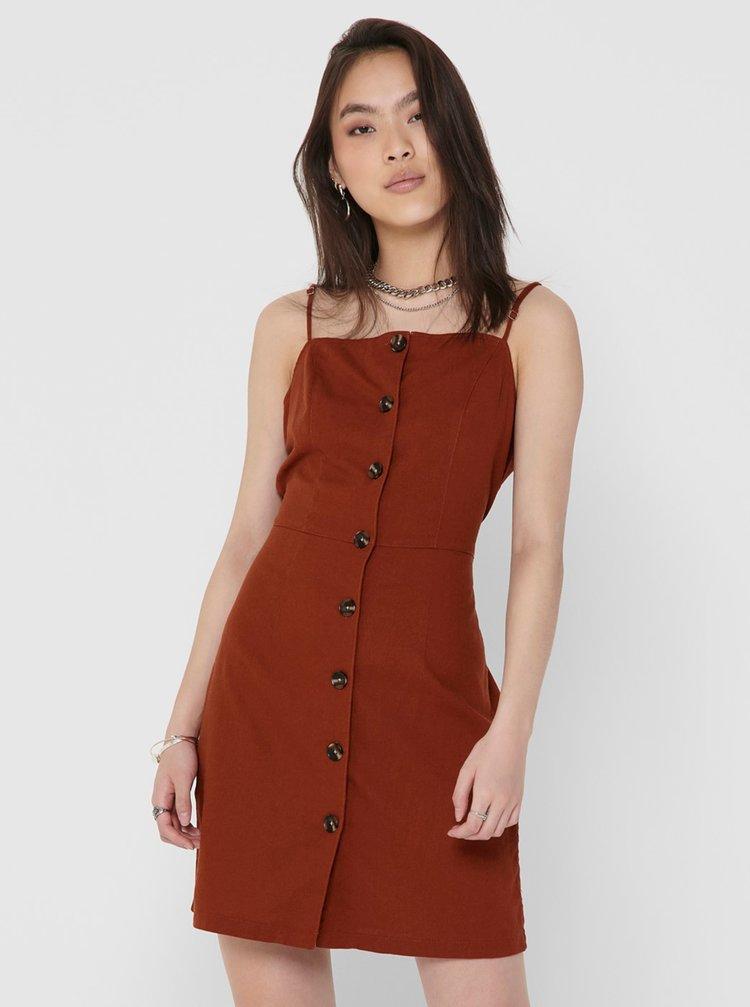 Hnedé šaty s prímesou ľanu ONLY Ember