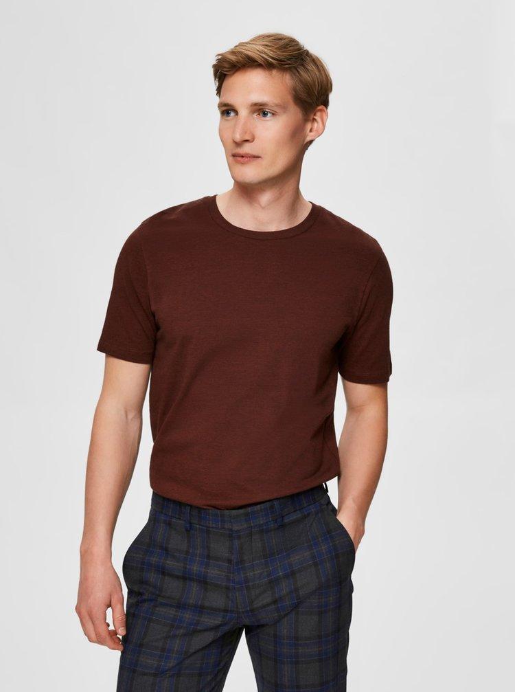 Hnědé basic tričko Selected Homme