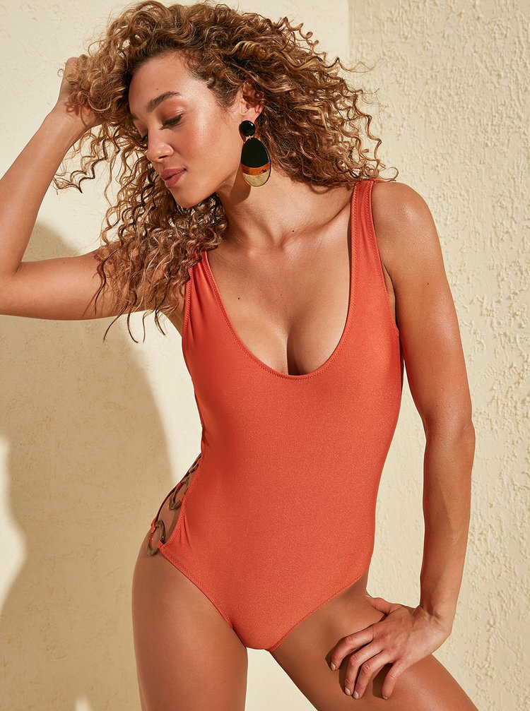 Oranžové jednodielne plavky Trendyol
