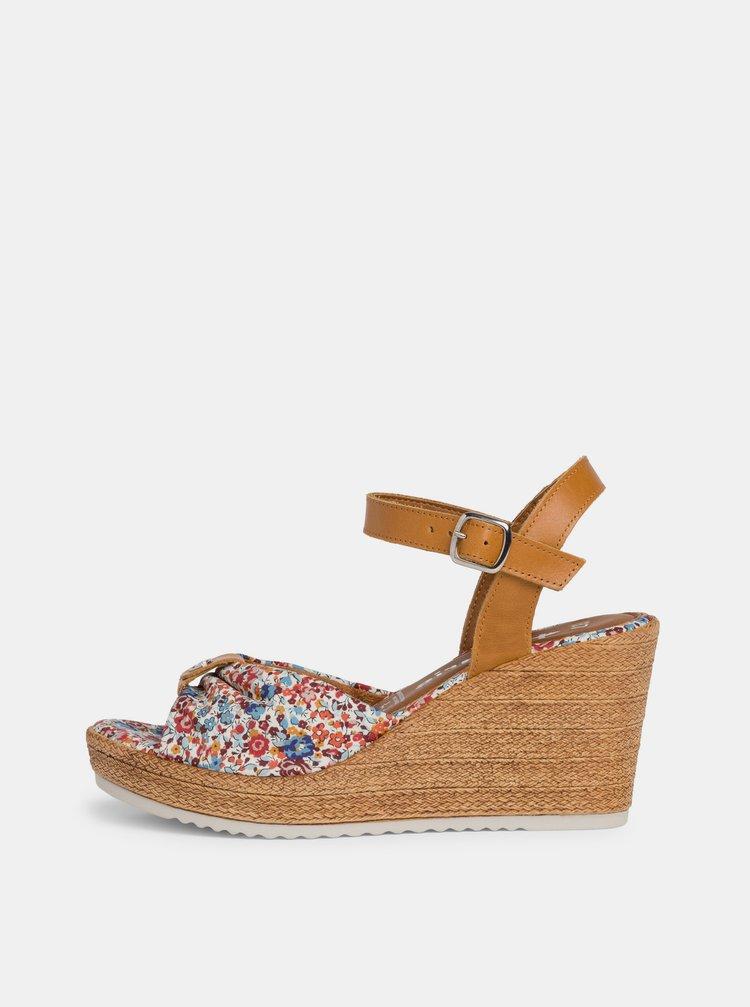Hnědo-modré květované sandálky na klínku Tamaris