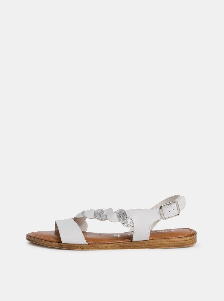 Bílé kožené sandály Tamaris