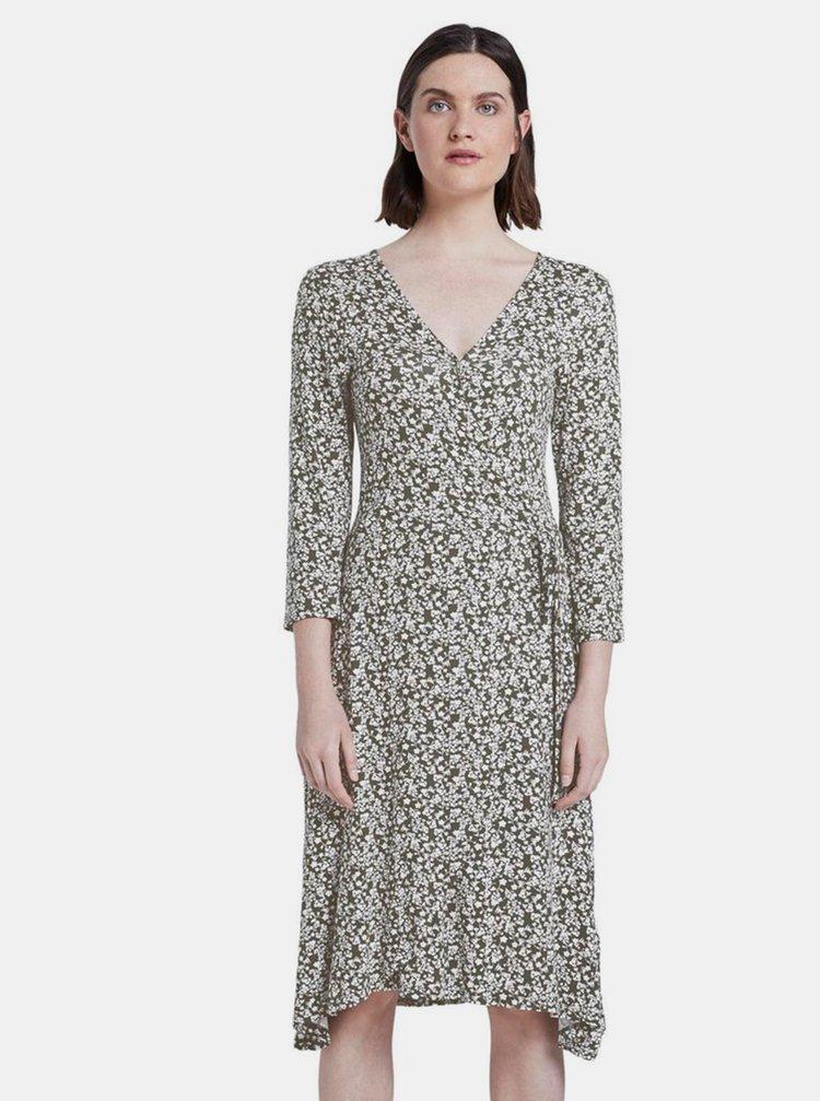Khaki dámské květované šaty Tom Tailor