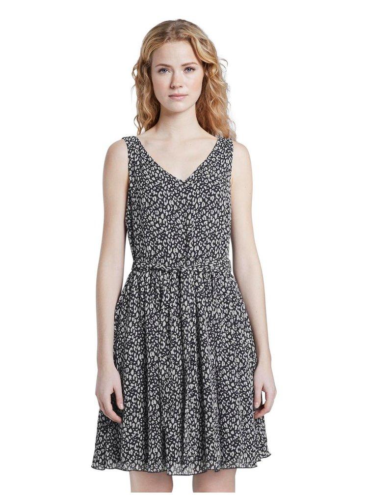 Tmavomodré vzorované šaty Tom Tailor Denim